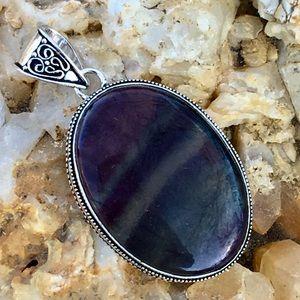 Jewelry - Purple and aqua banded fluorite pendant